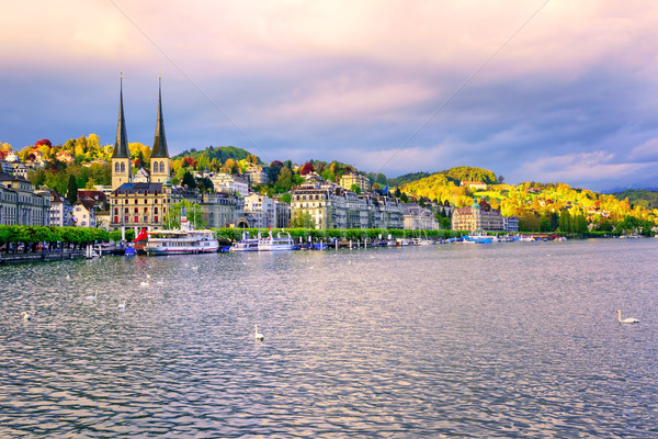 Luxury hotels at the waterfront of Lake Lucerne, Switzerland Stock photo © Xantana