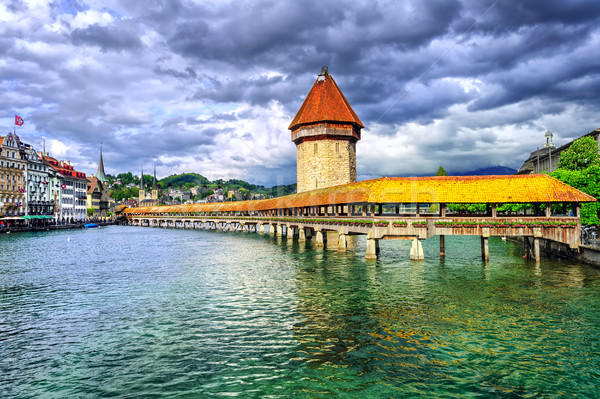 Fából készült kápolna híd folyó víz torony Stock fotó © Xantana