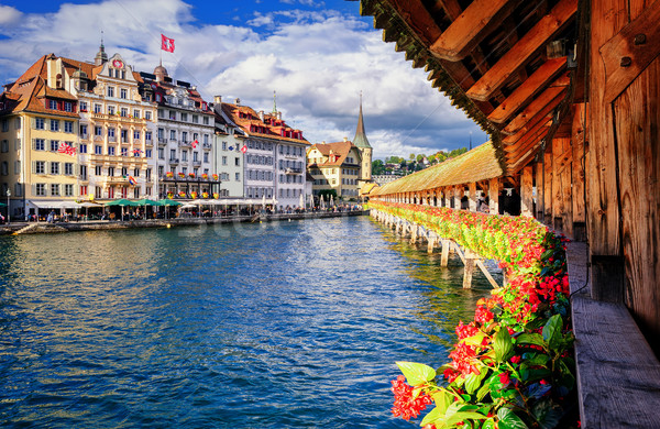 Lucerne, Switzerland, view from the famous wooden Chapel Bridge  Stock photo © Xantana