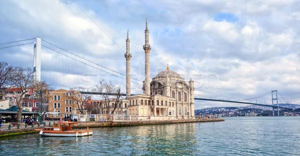 Ortakoy mosque and Bosporus bridge on European side in Istanbul, Turkey Stock photo © Xantana