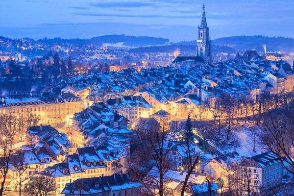 Bern Old Town snow covered in winter, Switzerland Stock photo © Xantana