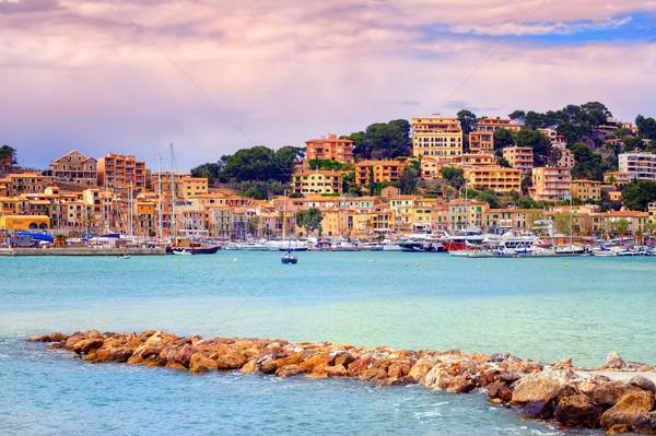 Port town Soller on sunset, Mallorca, Spain Stock photo © Xantana