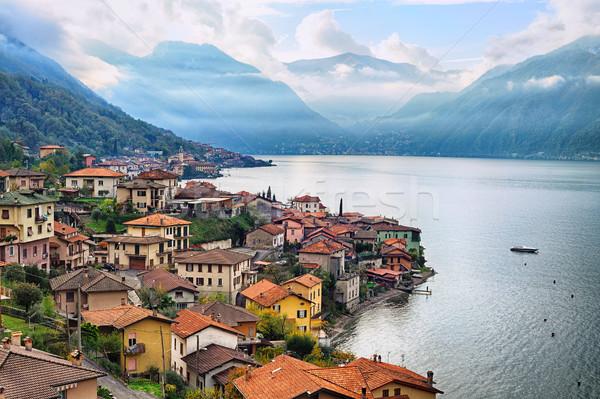 View of Como Lake, Milan, Italy, with Alps mountains in backgrou Stock photo © Xantana