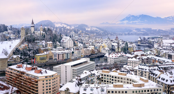 Lucerne, Switzerland, the Old Town and Alps mountains in winter Stock photo © Xantana
