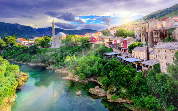 Sunrise over Mostar Old Town, Bosnia and Herzegovina Stock photo © Xantana