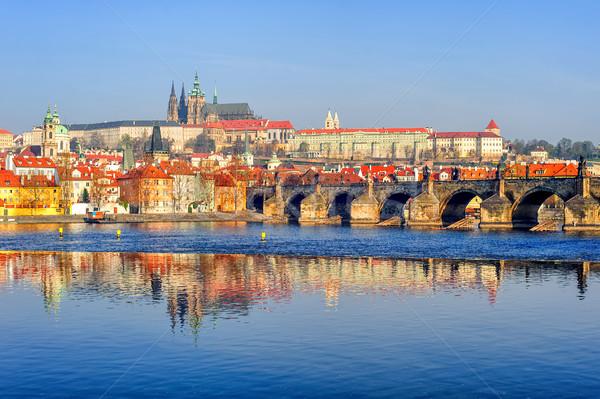The Prague Castle and Charles Bridge, Prague, Czech Republic Stock photo © Xantana