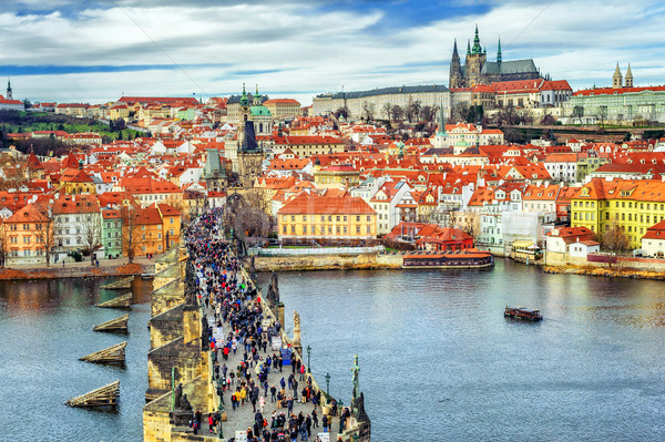 Panorama Praga castillo puente río rojo Foto stock © Xantana
