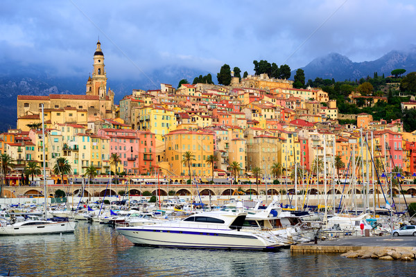 Yachts in the marina of colorful medieval town Menton on french  Stock photo © Xantana
