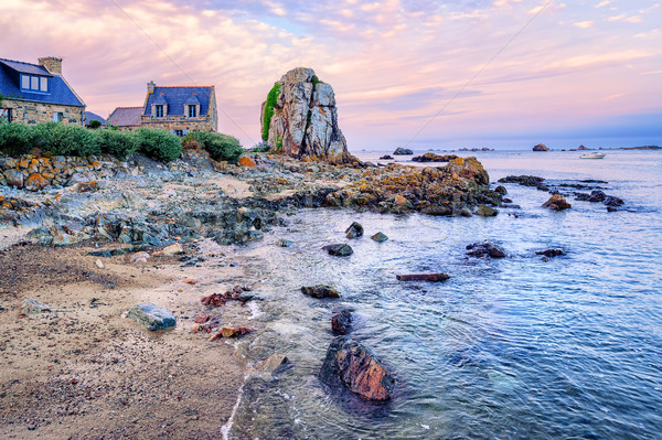 Atlantic beach on the Pink Granite Coast, Brittany, France Stock photo © Xantana
