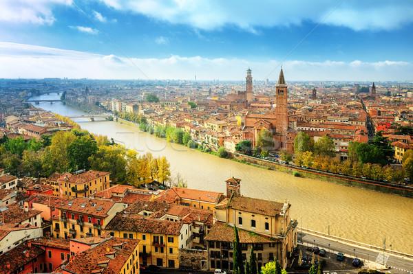 Old town of Verona and the river Adige, Italy Stock photo © Xantana