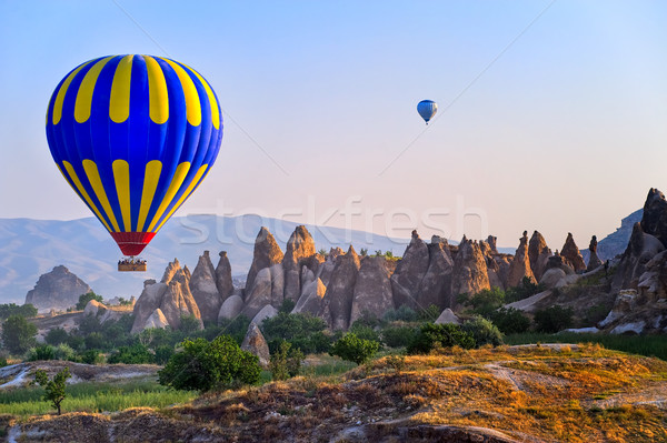 Cappadocia hot air balloon flying over bizarre rock landscape in Turkey Stock photo © Xantana