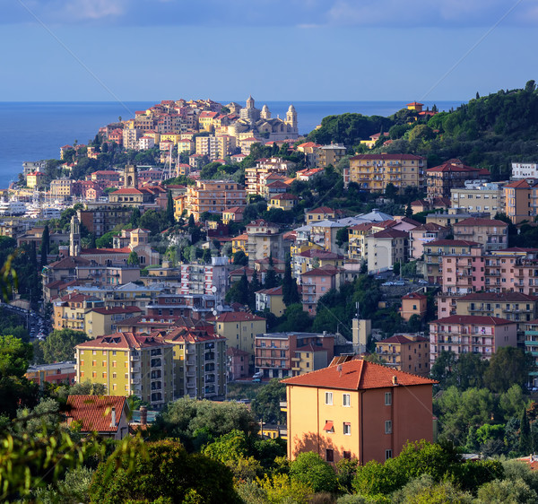 Panoramic view of the old town of Imperia on italian Riviera, Liguria, Italy Stock photo © Xantana