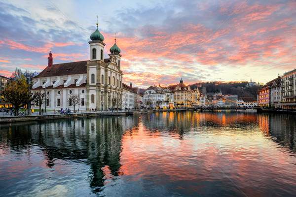 Sunset over the old town of Lucerne, Switzerland Stock photo © Xantana