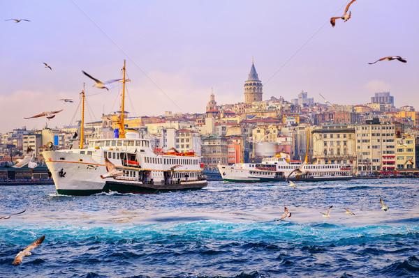Galata tower and Golden Horn, Istanbul, Turkey Stock photo © Xantana