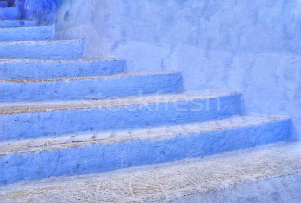 Azul escada cidade cidade rua pintar Foto stock © Xantana