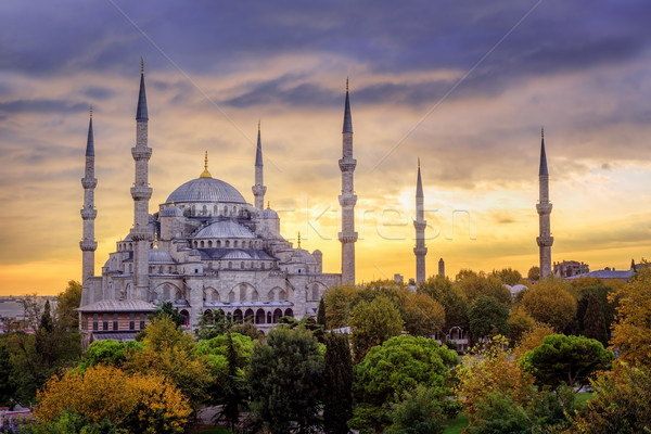 Blue Mosque Sultanahmet, Istanbul, Turkey, on sunset Stock photo © Xantana