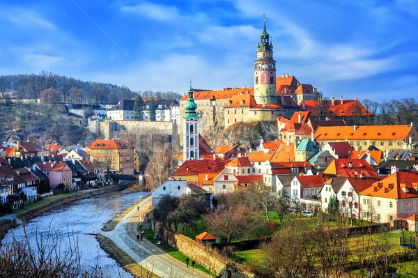 Çek Cumhuriyeti kırmızı karo çatılar towers Stok fotoğraf © Xantana