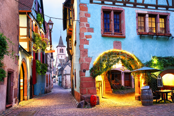 Colorful town of Riquewihr, Alsace, France Stock photo © Xantana