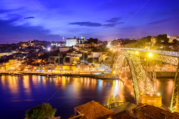 Ribeira and the Dom Luiz bridge at night, Porto, Portugal Stock photo © Xantana