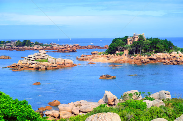Atlantic Pink Granite Coast by Tregastes, Brittany, France Stock photo © Xantana