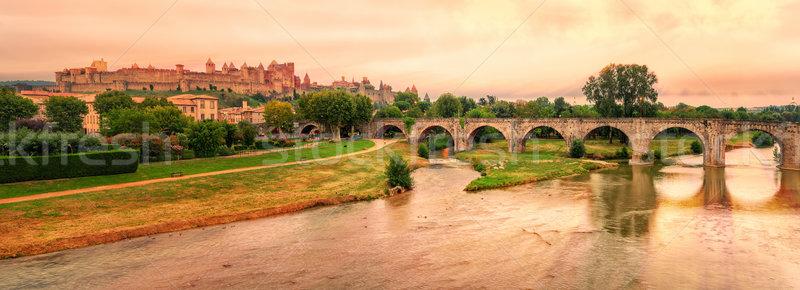 Fransa gün batımı şehir nehir manzara dünya Stok fotoğraf © Xantana