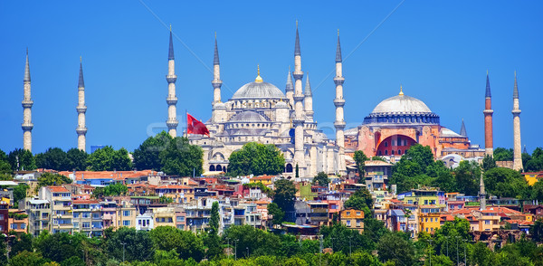 Panorama of Istanbul with Blue Mosque and Hagia Sophia cathedral, Turkey Stock photo © Xantana
