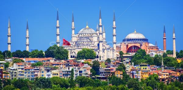 Panoráma Isztambul kék mecset katedrális Törökország Stock fotó © Xantana