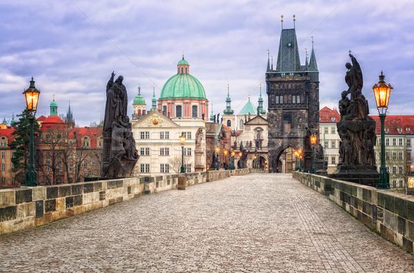 Charles bridge and the skyline of Prague, Czech Republic Stock photo © Xantana