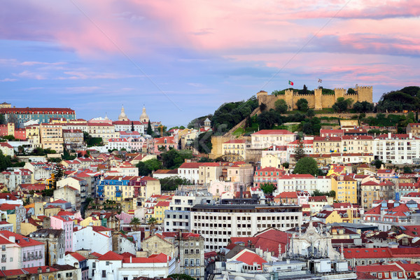 Lisbon, Portugal, view to the Alfama quarter and St. Jorge Castle Stock photo © Xantana