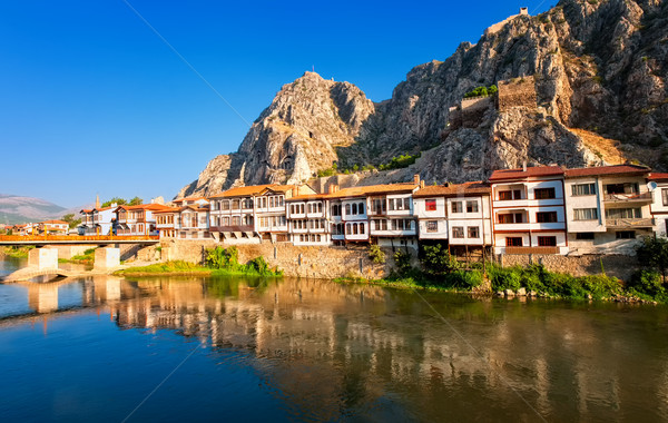 Traditional ottoman houses reflecting in the river, Amasya, Turkey Stock photo © Xantana