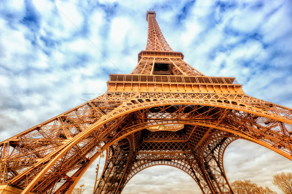 Eiffel tower wide shot with clouds, Paris, France Stock photo © Xantana