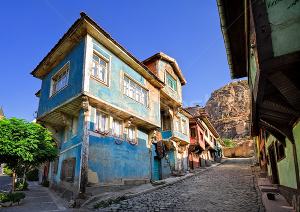Old traditional ottoman house street with the Karahisar castle i Stock photo © Xantana