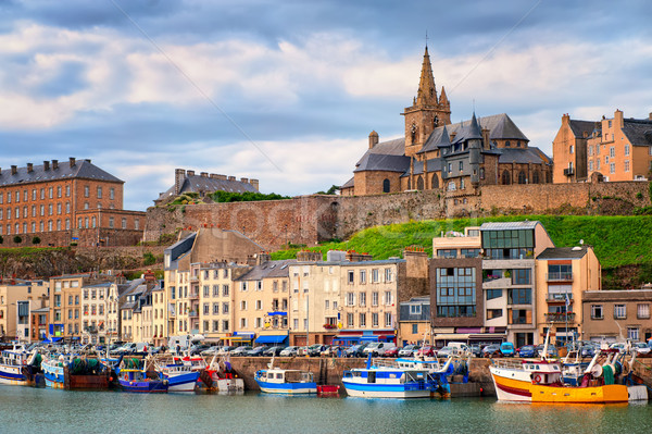 Gothic church and fishermen boats in port town Granville, Normandy, France Stock photo © Xantana