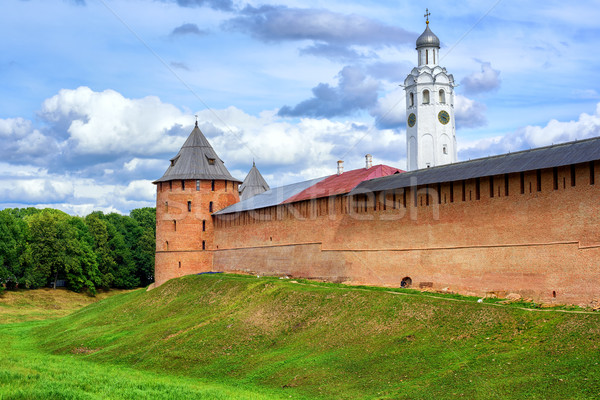 Red walls and white church in Novgorod Kremlin, Russia Stock photo © Xantana