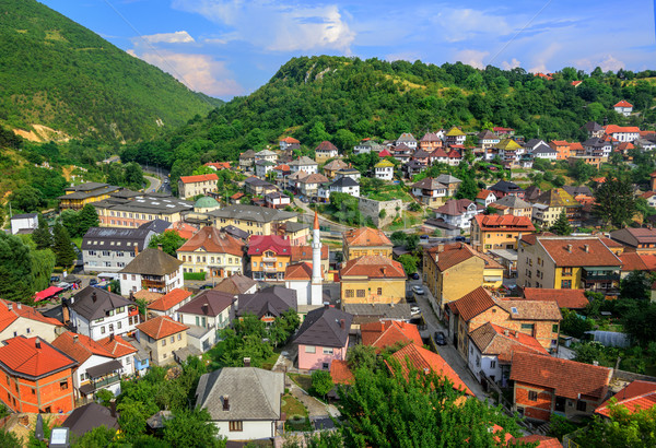 Panorama of the historical old town of Travnik, Bosnia Stock photo © Xantana