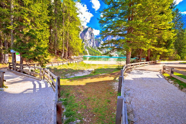 Lago di Braies walking paths Stock photo © xbrchx