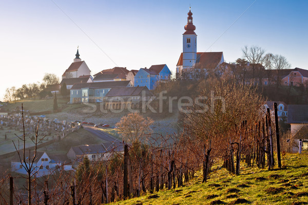 Straden village in fog church on the hill Stock photo © xbrchx