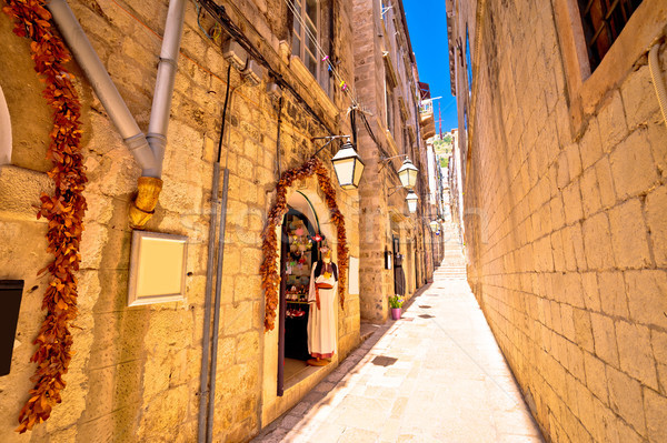 Dubrovnik romantic narrow street view Stock photo © xbrchx