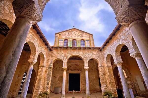 Euphrasian Basilica in Porec arcades and tower view Stock photo © xbrchx