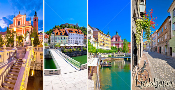 City of Ljubljana tourist postcard with name label  Stock photo © xbrchx