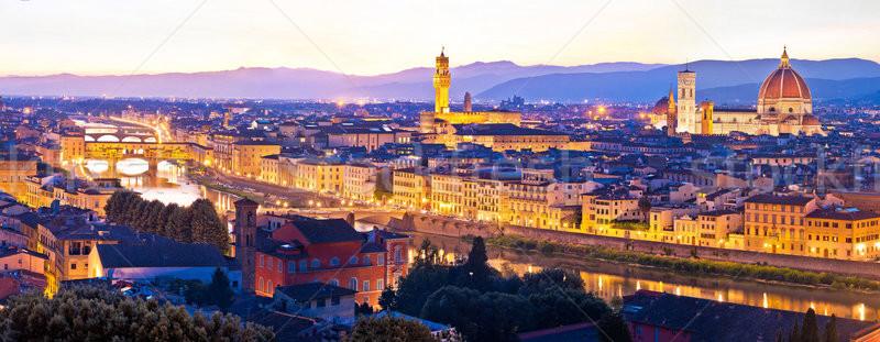 Florence stadsgezicht panoramisch avond Toscane Stockfoto © xbrchx