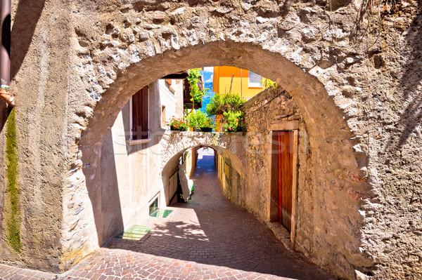 Old stone street of Limone sul Garda view Stock photo © xbrchx