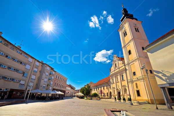 Town of Cakovec main square and church view Stock photo © xbrchx