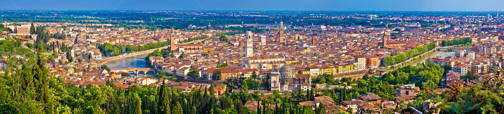 City of Verona old center and Adige river aerial panoramic view Stock photo © xbrchx