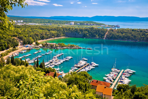 Town of Omisalj bay beach and marina view Stock photo © xbrchx