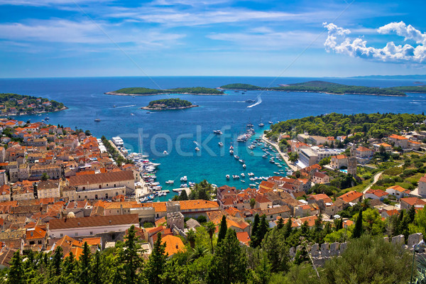 Island of Hvar bay aerial view Stock photo © xbrchx