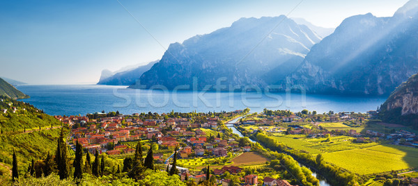Town of Torbole and Lago di Garda sunset view Stock photo © xbrchx