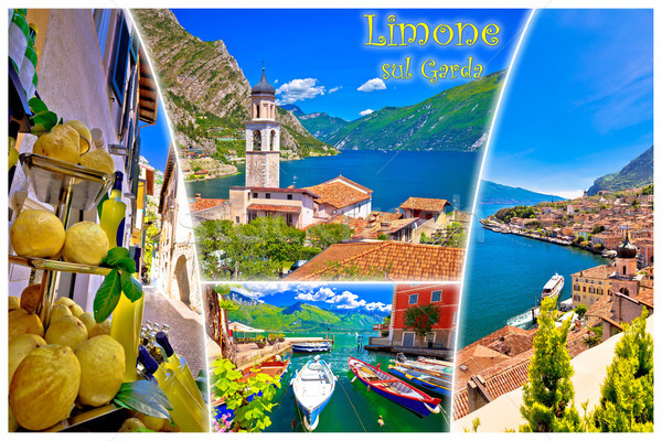Limone sul Garda collage postcard with label Stock photo © xbrchx
