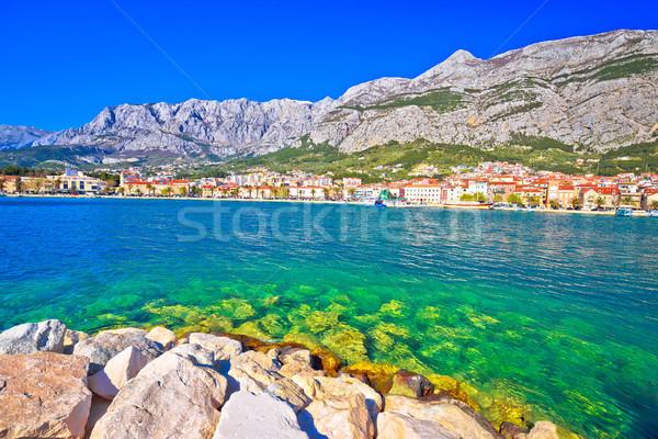 Makarska turquoise waterfront and Biokovo mountain view Stock photo © xbrchx