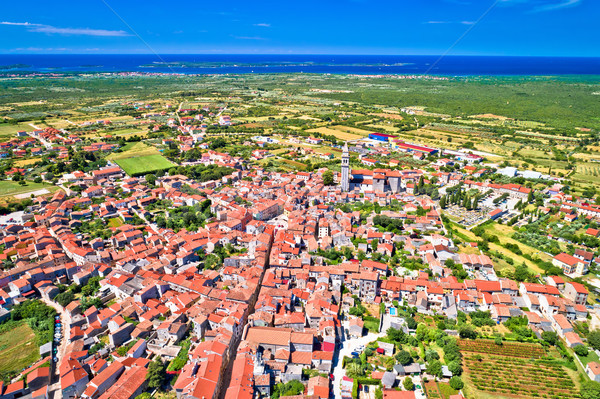 Town of Vodnjan and Brijuni archipelago aerial view Stock photo © xbrchx